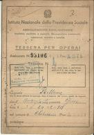"""3569 """"ISTITUTO NAZIONALE DELLA PREVIDENZA SOCIALE-TESSERA PER OPERAI-1951-ASTI"""" - ORIGINALE - Organizzazioni"""