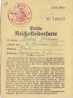 V1 - DRITTE REICHSKLEIDERKARTE 1942, Wien Kartenstelle Nr.43 - Historische Dokumente