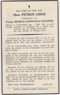 DOODSPRENTJE LOGIE PETRUS WEDUWNAAR LEICHER VLAMERTINGE POPERINGE (1861 - 1942) - Devotion Images