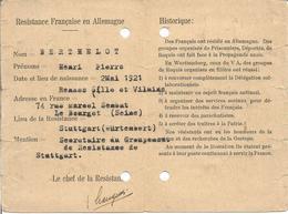 "Carte "" Résistance Française En Allemagne - Wurttemberg Stuttgart "" - Documents"