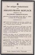 DOODSPRENTJE HOFLACK AMAND ECHTGENOOT VANDEWYNCKEL VLAMERTINGE (1872 - 1929) - Imágenes Religiosas