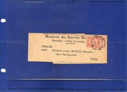 ##(DAN196)-POSTAL HISTORY-Belgium - Bruxelles  1896-  Newspaper Wrapper  To Torino - Italy - 1893-1800 Fijne Baard