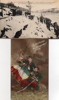 CPA Guerre 14 Corvée Apportant Caillebotis 1ère Ligne Isoler Pieds Sol Poilus Défense Drapeau - Guerre 1914-18