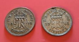 GRAN BRETAGNA  - 1939 E 1945 - 2  Monete Da 6 PENCE - Giorgio V - 1971-… : Monnaies Décimales