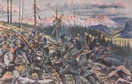 HEISSER KAMPF - Milit.Künstlerkarte Gel.191?, Zensurstempel K.u.K. Laibach - Weltkrieg 1914-18