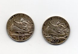 Vaticano - 1937 - Lotto 2 Monete Da 5 Lire - Papa Pio XI° - Argento - Vedi Foto - (MW2378) - Vatican