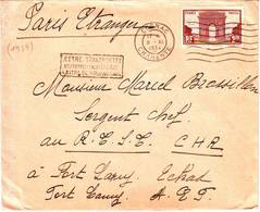 Arc De Triomphe N° 258 Obl Cognac 1934 Sur Lettre Par Avion Pour LE TCHAD Arrivee Au Verso - Marcophilie (Lettres)