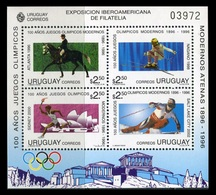 URUGUAY 1996 - 100 AÑOS DE JUEGOS OLIMPICOS - CABALLOS - YVERT BLOCK Nº 60** DENTELE - Uruguay