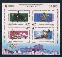 URUGUAY 1996 - 100 AÑOS DE JUEGOS OLIMPICOS - CABALLOS - YVERT BLOCK Nº 60** IMPERFORATED - Uruguay