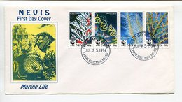 WWF - MARINE LIFE, BLACK CORAL. NEVIS 1994 ENVELOPE FDC SOBRE PRIMER DIA - LILHU - Timbres