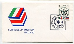 CAMPEONATO MUNDIAL DE FUTBOL, ITALIA 90. COSTA RICA 1990 ENVELOPE FDC SOBRE PRIMER DIA - LILHU - Costa Rica