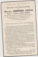 DOODSPRENTJE CREUS HERMINIE WEDUWE BOSSAERT VLAMERTINGE POPERINGE (1875 - 1957) - Imágenes Religiosas