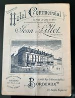 HOTEL COMMERCIAL JEAN LILLET CARTE DE VISITE BORDEAUX AVEC PLAN INFO TRAMWAY OMNIBUS VOITURES A CHEVAL THEATRE 33 - Publicités