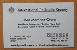 TARJETA DE VISITA INTERNATIONAL PHILATELIC SOCIETY. - Tarjetas De Visita