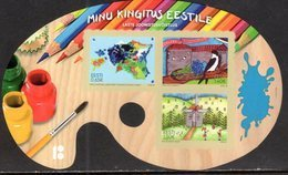 ESTONIA, 2018,MNH, MY GIFT TO ESTONIA, BIRDS, WINDMILLS, CHILDREN'S DRAWING COMPETITION, EASEL SHAPED SHEETLET - Art