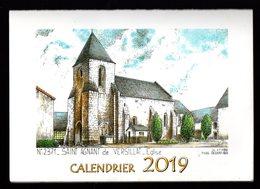 Calendrier 2019 Deux Volets Format Plié 10,5 X 15cm St Agnant De Versillat (Creuse) Ill. Ducourtioux - Calendars