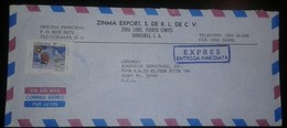 O) 1992 HONDURAS, AMERICA UPAEP- ISSUE, SHIP -MAP - BIRD- PAINTING -SCT C839 2l, ZINMA EXPORT, EXPRESS AIRMAIL TO USA - Honduras