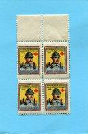 Vignette-guerre 14-18-soldat-1916-croix Rouge-secours Aux Bléssés-bloc De 4 ***neufs Impec Sans Ch - Commemorative Labels