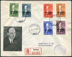 Russia WW2 1942 East Karelia AUNUS Finland Itä-Karjala Occupation President Ryti Set Registered Cover WWII > Switzerland - Unclassified