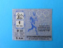 SUMMER OLYMPIC GAMES HELSINKI 1952. - SWEDEN Vs GERMANY Bronze Medal Football Match Ticket * Soccer Fussball Deutschland - Match Tickets