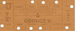 Carte De Métro - GEORGES V - Subway