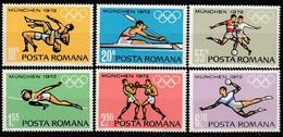 1972 MÜNCHEN - Rumänien  MiNr: 3012-3017  Komplett  **/MNH - Sommer 1972: München