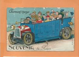 Carte à Système Très Abîmée - Souvenir De Rouen - Charmant Voyage -Dépliant 10 Vues (camion , Bus ) - Rouen