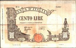 1735) Splendida Banconota Da 100£ Vecchio Tipo Di Colore Giallo Ocra Del 9-12-1942 - 100 Lire