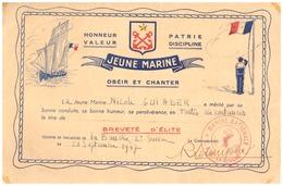 """BUVARD-MARINE NATIONAL-JEUNE MARINE -""""OBEIR ET CHANTER""""  BREVET D'ELITE-COLONIE DE VACANCES DE LA BAUCHE 2èSESSION  1947 - Documenten"""