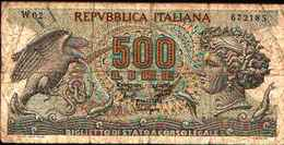 1759) Splendida Banconota Da 500£ ARETUSA SERIE SPECIALE W2 DEL 20-6-1966 - [ 2] 1946-… : Républic