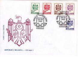 Moldova   Moldavie  Moldawien   Moldau , 1992 , Definitive Issue , Coats ,   FDC - Moldova