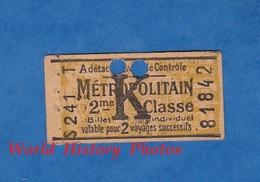 Ticket De Métro - S 241 T - 2 Voyages 2e Classe - K - Métropolitain - Billet Individuel N° 81842 - Cognac ROUYER - Paris - Subway