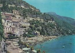 POSITANO-SALERNO-PANORAMA E SPIAGGIA-CARTOLINA VERA FOTOGRAFIA-VIAGGIATA IL 19-8-1970 - Salerno