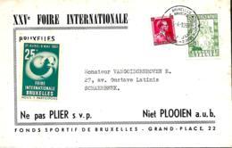 Belgique. TP 528 + 842 L. Bruxelles 25è Anniversaire/ Foire Internationale > Schaerbeek + Vignette 1951 - Storia Postale