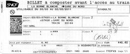 SNCF - Billet à Composter De L ' Oise à La Gare Du Nord - Chemins De Fer
