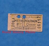 Ticket De Métro - S 009 A - 2 Voyages 2e Classe - L- Métropolitain - Billet Individuel N° 06117 - Paris - Subway
