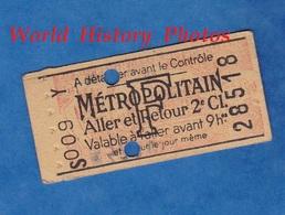 Ticket De Métro - S 009 Y - Aller Retour 2e Classe , Avant 9h - F- Métropolitain - Billet Individuel N° 28518 - Paris - Europe