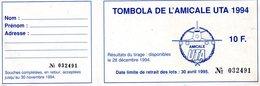 Carnet De 16 Billets De Tombola De L ' Amicale UTA - Billets De Loterie