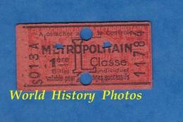 Ticket De Métro - S 013 A - 2 Voyages 1ere Classe - L - Métropolitain - Billet Individuel N° 11784 - Lame Rasoir - Paris - Subway
