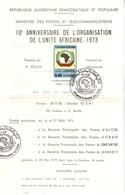 ALGERIE - 10eme ANNIVERSAIRE DE L'ORGANISATION DE L'UNITE AFRIACAINE - 1973. - Algerien (1962-...)