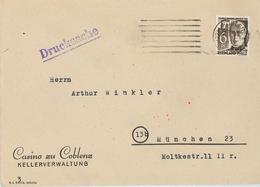Casino Koblenz Ketteler Drucksache Nach München Kellerverwaltung Kasino Coblenz 1948 Pfalz - Zona Francese
