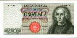 1788) Splendida Banconota Da 5000 LIRE CRISTOFORO COLOMBO I° TIPO DEL -3-9-1964 - [ 2] 1946-… : Republiek