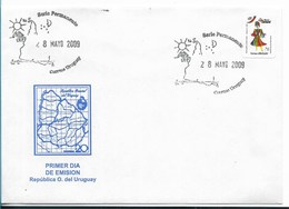 URUGUAY 2009 FDC CARNIVAL TYPICAL DRESSES 1 VALUE SELF ADHESIVE ON FDC - Uruguay