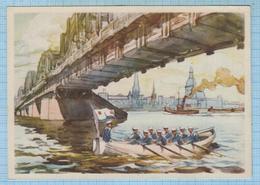 USSR / Post Card / Soviet Union / Latvia Bridge Over The Daugava At Riga Sailors Of The Navy Fleet  Watercolor 1950s - Latvia