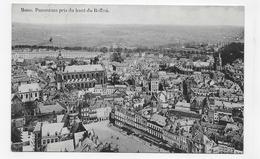 (RECTO / VERSO) MONS EN 1913 - PANORAMA PRIS DU HAUT DU BEFFROI - BEAU TIMBRE ET CACHET DE BELGIQUE - CPA VOYAGEE - Mons