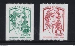 N° 1256 & 1257 Marianne Ciappa Adhésif Roulettes Année 2016, Valeur Faciale Lettre Prioritaire Et Lettre Verte - Adhésifs (autocollants)