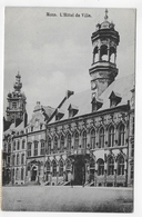 (RECTO / VERSO) MONS EN 1913 - L' HOTEL DE VILLE - BEAUX CACHETS ET TIMBRES DE BELGIQUE -  CPA VOYAGEE - Mons
