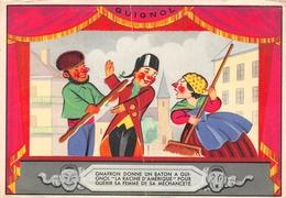 """Guignol - Gnafron Donne Un Baton A Guignol """"La Racine D'Amerique' Pour Guerir Sa Femme De Sa Méchanceté Card - Cirque"""