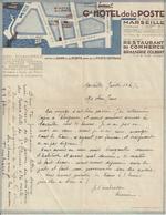 MARSEILLE HOTEL DE LA POSTE BRASSERIE COLBERT RESTAURANT DU COMMERCE ANNEE 1920 30 - France