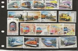 TRAINS DU MONDE - LOT DE TIMBRES - Trains